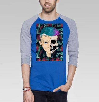 Череп - Футболка мужская с длинным рукавом синий / серый меланж, текстура, Популярные