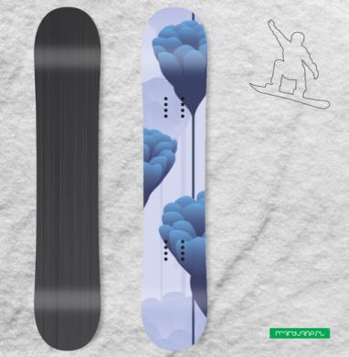 Синие бутоны - Наклейки на доски - сноуборд, скейтборд, лыжи, кайтсерфинг, вэйк, серф