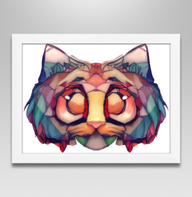 Витражный кот - Постеры, Абстрактные