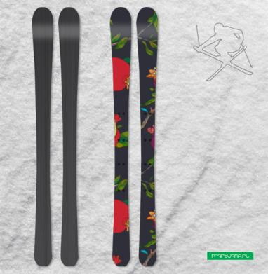 Красные гранаты на темном - Наклейки на лыжи