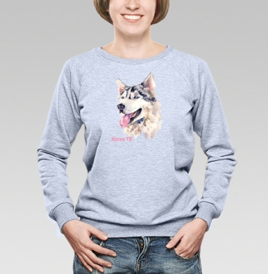 Собака хаски, Cвитшот женский, толстовка без капюшона  серый меланж