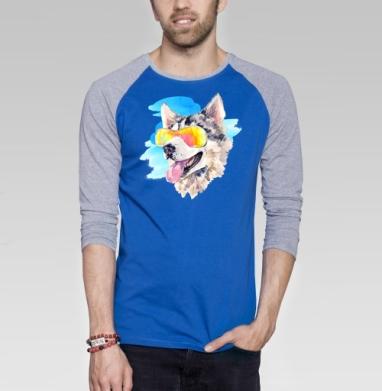 Хаски сноубордист - Футболка мужская с длинным рукавом синий / серый меланж, собаки, Популярные