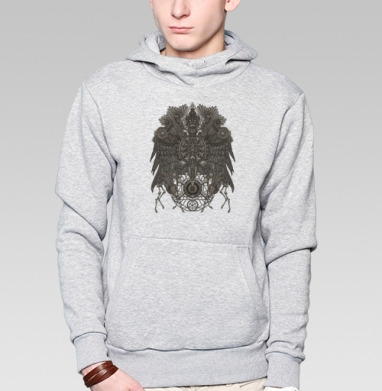 Великий Орёл, Толстовка мужская, накладной карман серый меланж