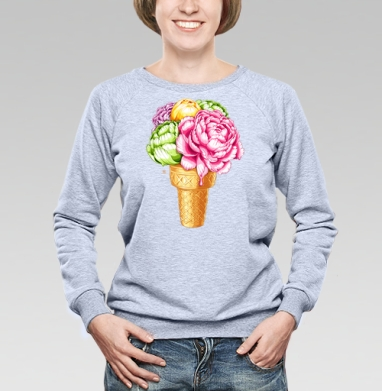 Любителям мороженного, Cвитшот женский, толстовка без капюшона  серый меланж