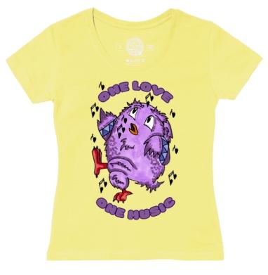 Футболка женская желтая - Люблю музыку