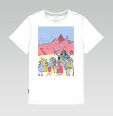Детская футболка белая - Розовые холмы