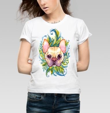 Акварельный бульдог - Купить детские футболки с собаками в Москве, цена детских футболок с собаками  с прикольными принтами - магазин дизайнерской одежды MaryJane