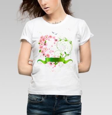 Весеннее сердце из цветов яблони - Купить детские футболки романтика в Москве, цена детских футболок романтических  с прикольными принтами - магазин дизайнерской одежды MaryJane