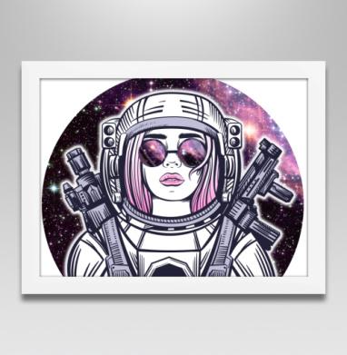 Космическая девушка - Постер в белой раме