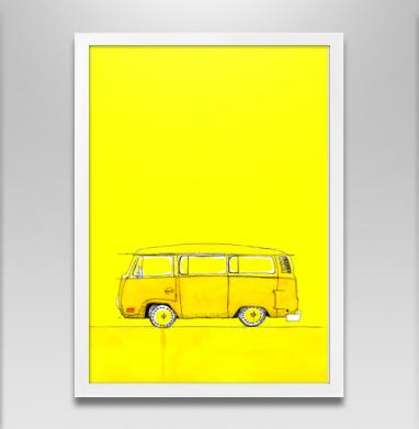 Жёлтый Автобус - Постер в белой раме, дым
