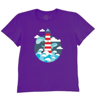 Футболка мужская темно-фиолетовая - Маяк для китов