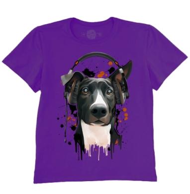 Футболка мужская темно-фиолетовая - Пёс меломан