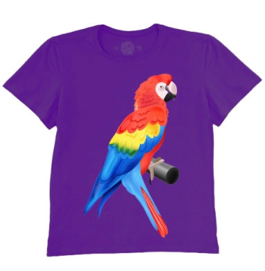 Футболка мужская темно-фиолетовая - Попугай
