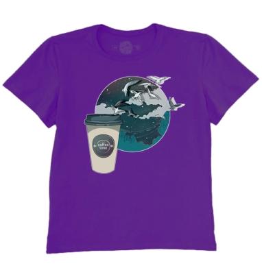Футболка мужская темно-фиолетовая - Время кофе