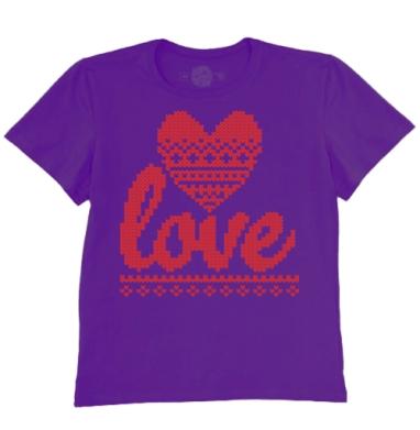 Футболка мужская темно-фиолетовая - Вязаная любовь