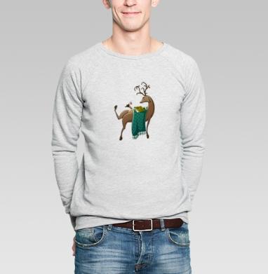 Февральский олень - Купить мужские свитшоты нежность в Москве, цена мужских свитшотов нежность  с прикольными принтами - магазин дизайнерской одежды MaryJane