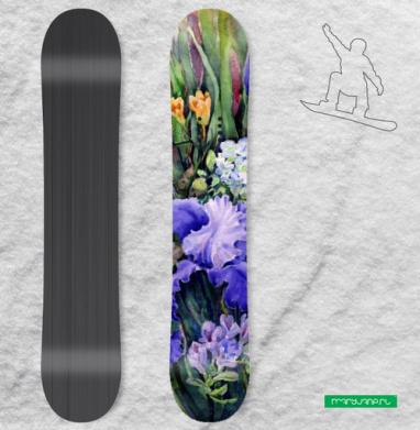 Ирисы и фрезии - Наклейки на доски - сноуборд, скейтборд, лыжи, кайтсерфинг, вэйк, серф