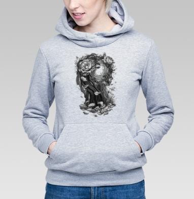 Сюрреалистическая девушка - Толстовка Женская серый меланж 340гр, теплая, Купить толстовки победителей