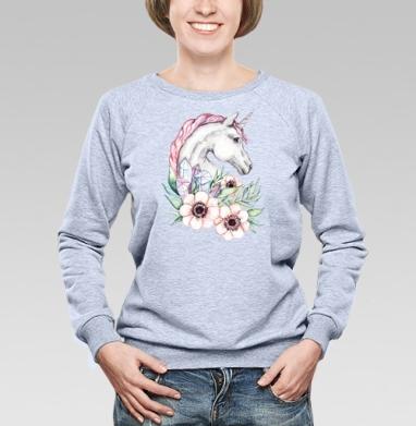 Весенний единорог - Купить детские свитшоты с акварелью в Москве, цена детских свитшотов с акварелью  с прикольными принтами - магазин дизайнерской одежды MaryJane