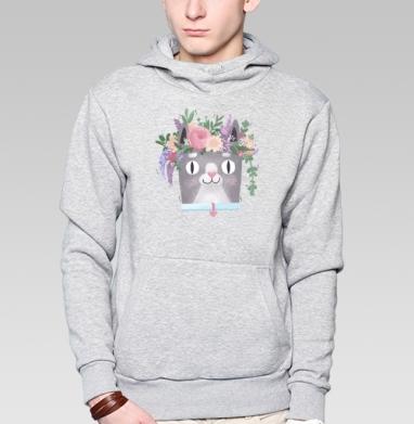 Весенний Кот Перкинс, Толстовка мужская, накладной карман серый меланж