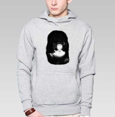 Толстовка мужская, накладной карман серый меланж - Внутренний космос