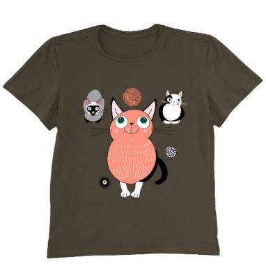Футболка мужская коричневая - Забавные коты