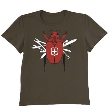 Футболка мужская коричневая - Swiss beetle