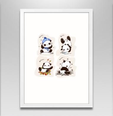 Пандочки  - Постер в белой раме, осень