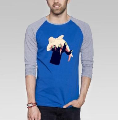 Рыбка - Футболка мужская с длинным рукавом синий / серый меланж, Улыбка