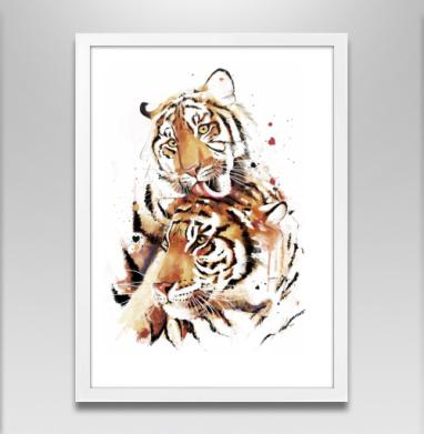 Влюбленные тигры - Постеры, кошка, Популярные