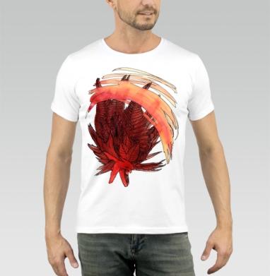 Футболка мужская белая 160гр - Огненная акварель