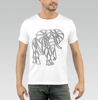 Футболка мужская белая - Слон