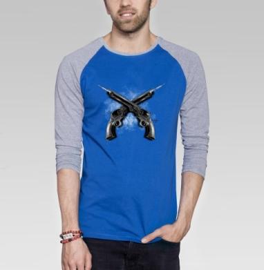 Револьверы - Футболка мужская с длинным рукавом синий / серый меланж, оружие, Популярные