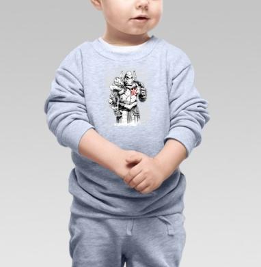 Стимпанк рыцарь с цветком орхидеи  - Cвитшот Детский серый меланж, Новинки
