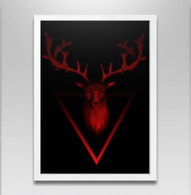 Трезглазый акварельный олень с лиственными рогами - Постер в белой раме