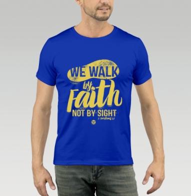 Футболка мужская синяя - Мы ходим верою