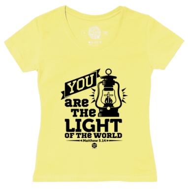 Футболка женская желтая - Вы - свет мира