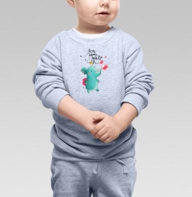 Бубль-гум - Cвитшот Детский серый меланж, Новинки