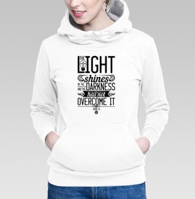 Толстовка Женская белая - Иисус свет во тьме