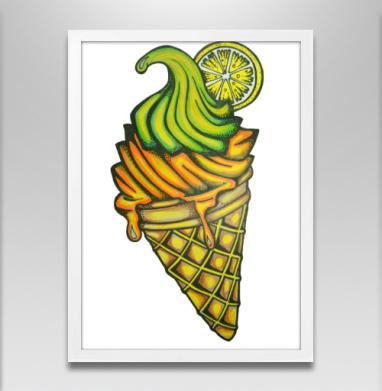 Мороженное - Постер в белой раме, паттерн