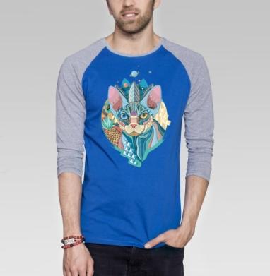 Немного Мехикано Космо котЭ  - Футболка мужская с длинным рукавом синий / серый меланж, Графика