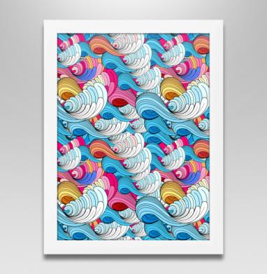 Морские абстрактные волны, Постер в белой раме