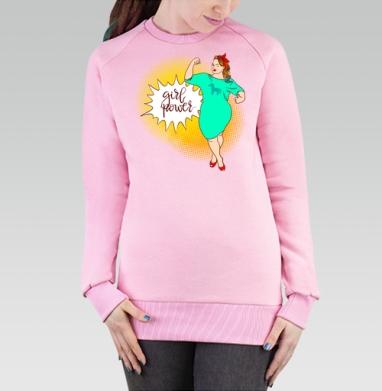 Cвитшот женский, толстовка без капюшона розовый - Девушки Рулят!