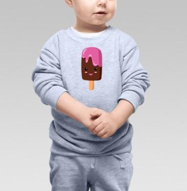 Мороженное няшка по имени Пинки - Cвитшот Детский серый меланж, Новинки