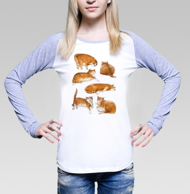 Паттерн с рыжими котами, Футболка лонгслив женская бело-серая