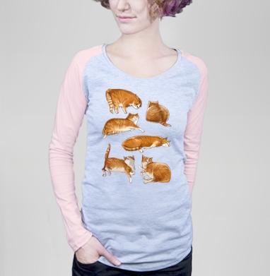 Паттерн с рыжими котами - Футболка женская с длинным рукавом серый меланж/розовая