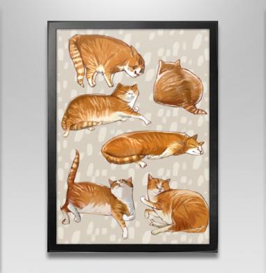 Паттерн с рыжими котами - Постер в чёрной раме