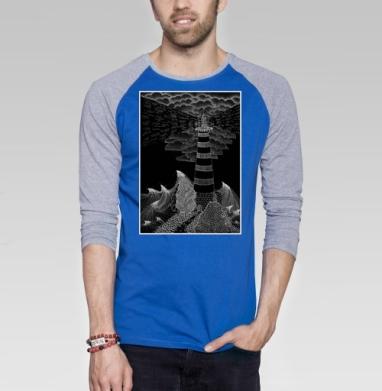 Маяк бури - Футболка мужская с длинным рукавом синий / серый меланж, графика, Популярные