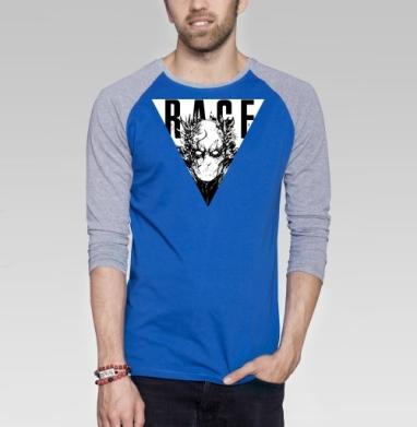 Ведомый гневом ЧБ - Футболка мужская с длинным рукавом синий / серый меланж, графика, Популярные