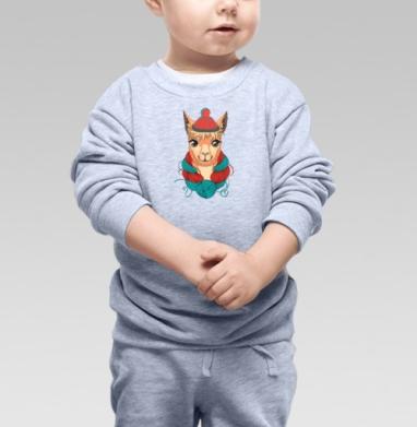 Портрет ламы в шапке и мотком ниток на шее - Cвитшот Детский серый меланж, Новинки